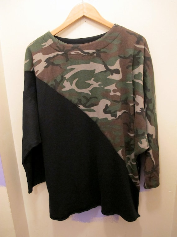 80s Unisex Bat-wing Sweatshirt with Diagonal Camo