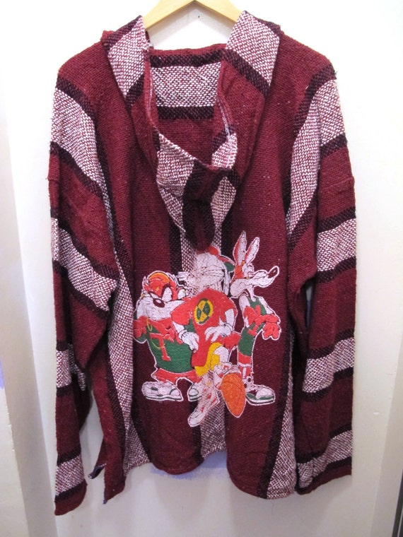Loony Tunes Hip Hop Baja Drug Rug Maroon and White Stripe
