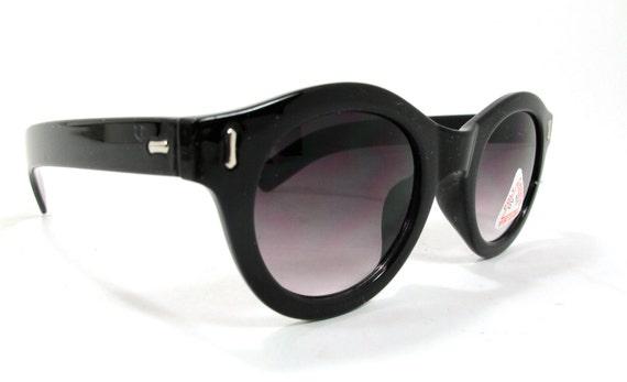 Vintage NOS Swatch Style Cateye Sunglasses Round  Black Geometric