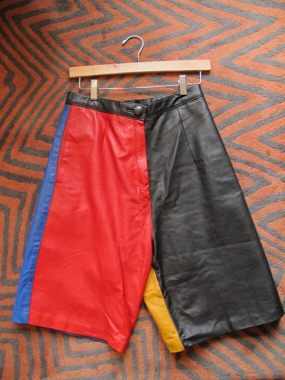 1980s Salt N Pepa  Leather Color Block Shorts