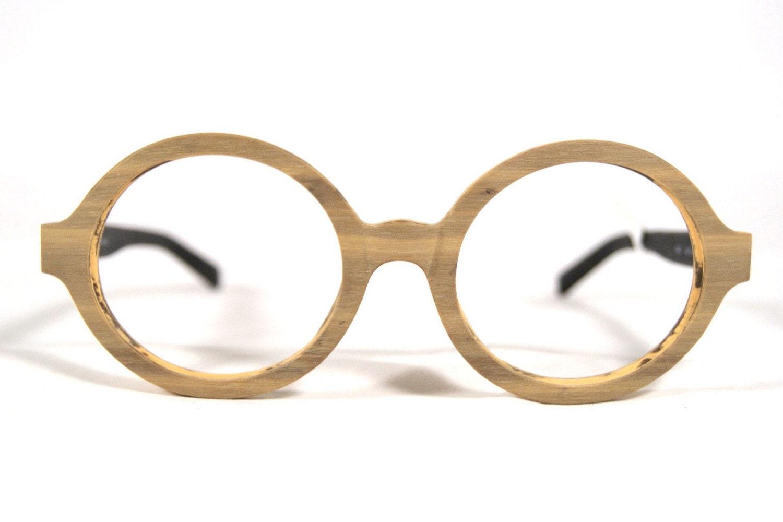 Vintage Round Bamboo Eyeglass frames glasses wood 1990s 90s