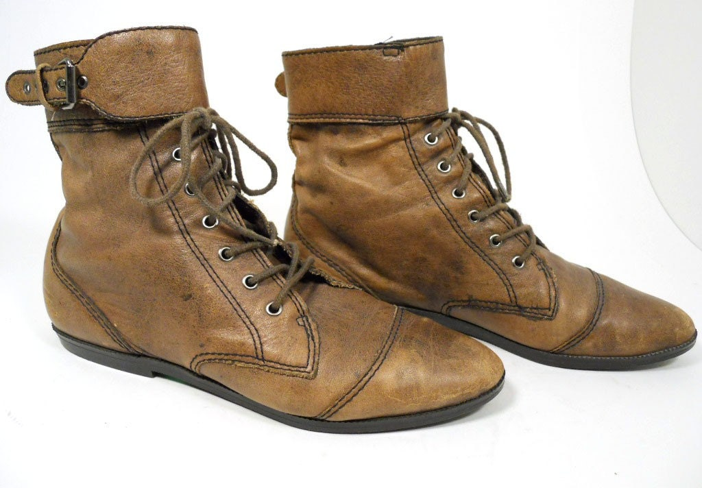 brown flat lace up boots with buckle us 6