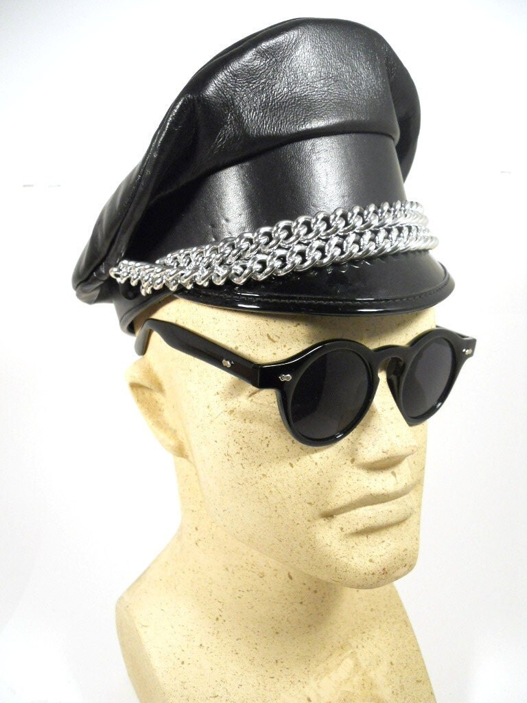 Leather Biker Cap Leather Daddy Hat Chains S Amp M Military