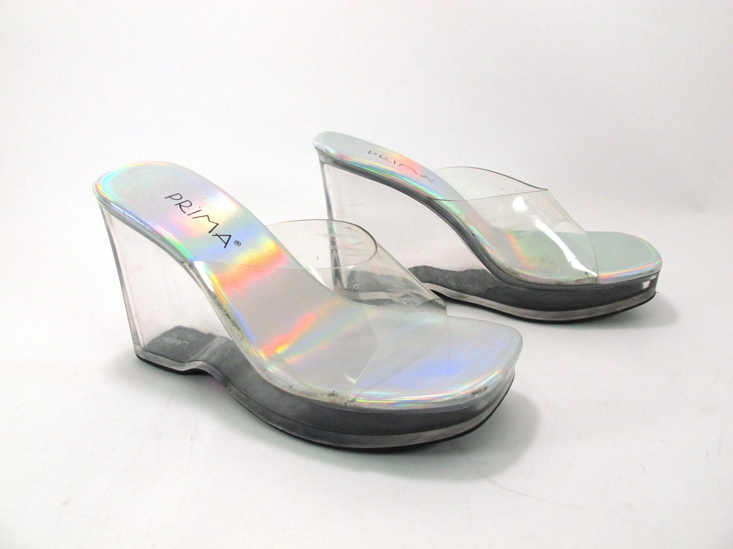 vintage clear plastic wedge platform sandals size 7