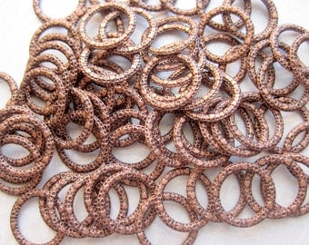 Copper Circle with Hearts - 10 Circles - 14-15mm