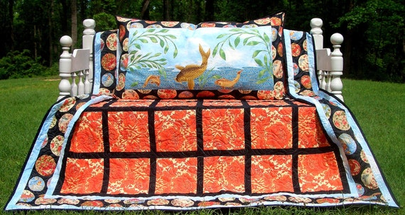 Queen Bed Quilt And Pillow Set Oriental Print