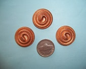 6 pcs., Older Vintage, 24mm Coiled Brass Snake, Stamping, Victorian Style Finding