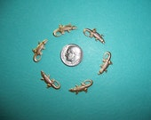 12 pcs., Small Alligator Charm, Brass Stampings, Dangles, Made from Vintage Tooling