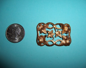 5 pcs., Vintage Art Nouveau, Rectangular Leaves Vines Domed Stamping, Finding, Open Work,, Heavy Struck, Hammered Texture, Copper, Brass