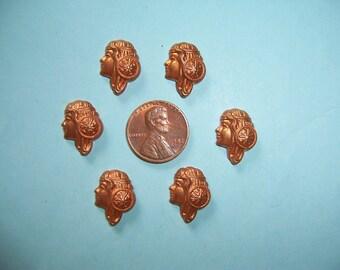 6 pcs., Fabulous Vintage Goddess, Maiden, Roman Face, Copper Brass  Stampings