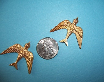 4 pcs., Fabulous Older Brass Bird Stampings, Heavy Struck Pave Spaces for Stones Victorian Style