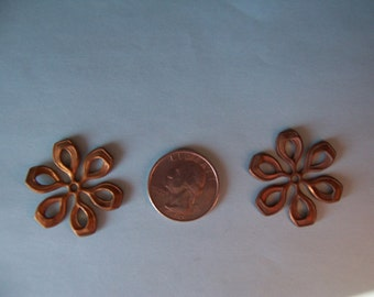 5 pcs., Older Vintage, Large Japanese Flower Motif, Heavy Struck, Copper Brass, Open Work Stampings