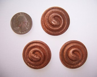 6 pieces, Older Vintage, 32mm Coiled Brass Snake, Stamping, Victorian Style Finding