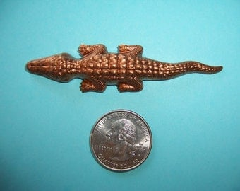 3 pcs. Large Vintage Alligator, Crocodile Domed Brass Stampings, Findings, Made in France