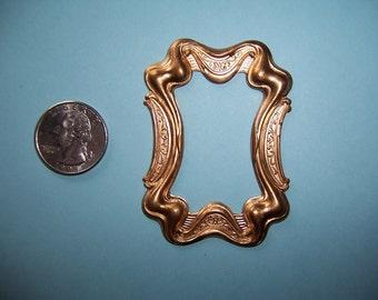 2 pcs. Vintage, Art Nouveau Style, Frame Topper, Large Heavy Struck Brass Stamping