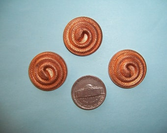 Older Vintage, 24 mm Coiled Brass Snake, Stamping, 6 pieces, Victorian Style Finding