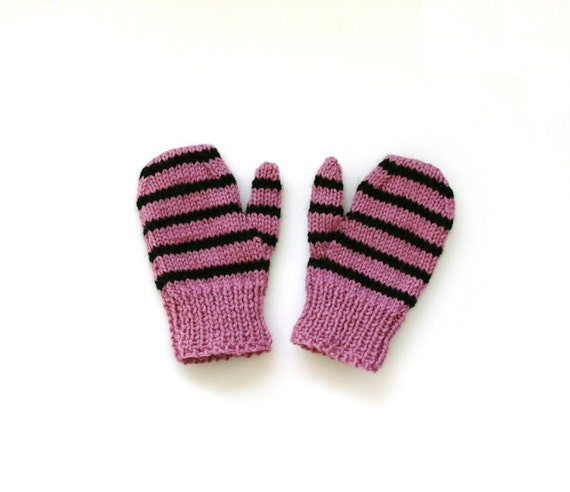 Mittens Violet and Black Stripe (1-2 years)