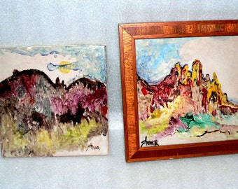 Franciscan Interpace Signed Hand Painted Tile Wall Hang Western Scenes Stoyer