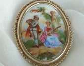 Vintage Limoges Brooch, couple playing instruments