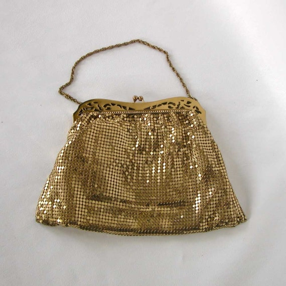 vintage gold mesh whiting and davis purse