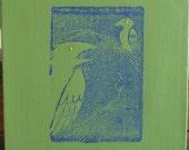 Huginn-Munnin Linoleum Print