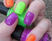 Made To Order Neon Glitter Bomb Nail Art Set of Artificial Nails - Purple, Orange and Lime Green
