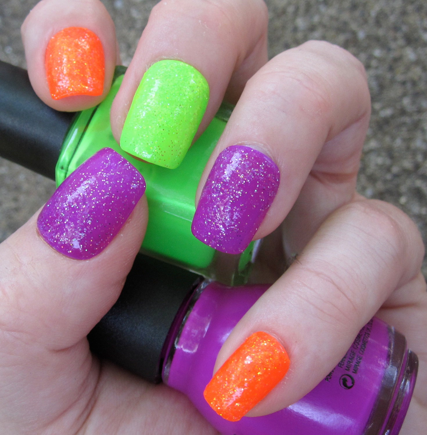 Items similar to Made To Order Neon Glitter Bomb Nail Art ...