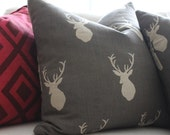 """RESERVED Designer Gray and White Stag Silhouette Pillow Cover 16""""x16"""""""