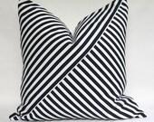"Designer Black and White Stripe Playful Geometric White Linen Pillow Cover 20""x20"""