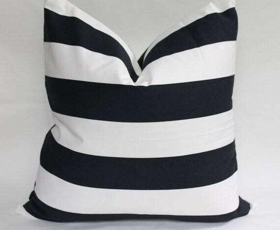 Black and White Bold Stripe Pillow Cover 20x20