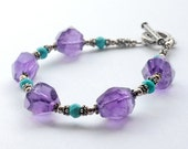 Amethyst Turquoise Bracelet Chunky Sterling Silver Blue Purple Jewelry Toggle Clasp