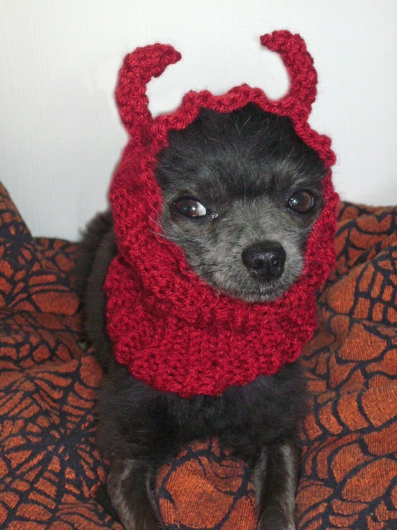 LITTLE DEVIL hand knit Dog snood