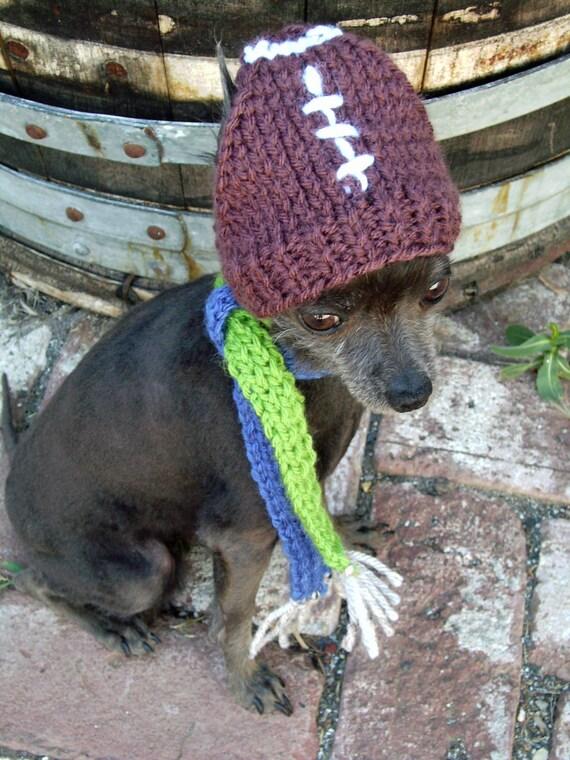 Football Handknit Dog hat