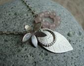 Rose Quartz Leaf Charm Pendant