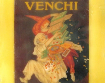 beeswax encaustic collage art deco 20's children Italy chocolate