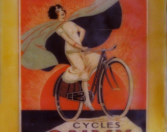 beeswax encaustic collage art deco 20's woman on bicycle France