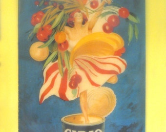 beeswax encaustic collage art deco 20's woman with cherry Italy