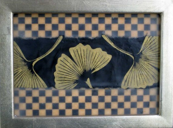 beeswax encaustic paper collage ginko leaf art deco black gold checks