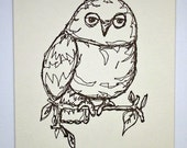Owl (drawing in thread)- Letterpressed Print