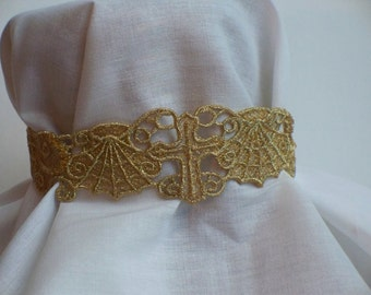 Metallic Gold Lace choker