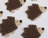 Set of 4 Felt Applique Hedgehog Embellishments