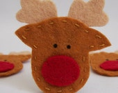 Set of 4 Felt Applique Rudolph