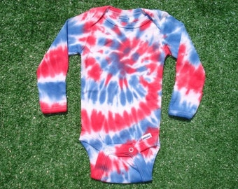 0-3mo. Tie Dyed Bodysuit Patriotic