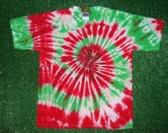 Large youth Christmas Tie Dye Tshirt