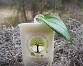 New Organic TIRED ACHEY MUSCLES vegan all natural soybean votive candle pure essential oils theraputic holistic eco friendly aromatherapy