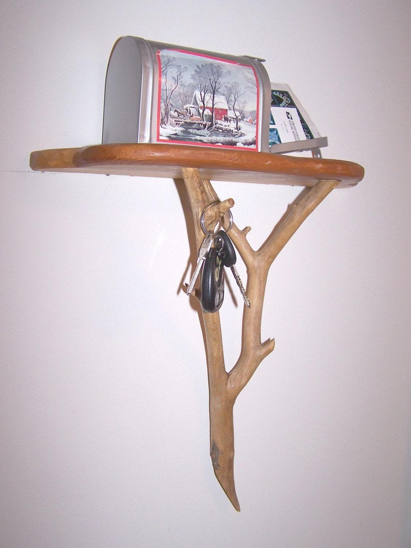 Rustic Branch Wall Shelf With Key Hook