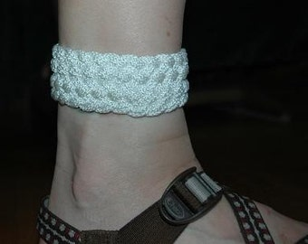 turks head knot ankle bracelet white nylon adjustable rope jewelry 2260