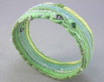 green beaded soft slip on bangle style bracelet fiber art statement bracelet 1448