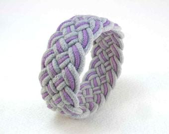 purple cotton rope bracelet turks head knot bracelet handwoven cord bracelet 2196