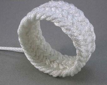 wide thick white nylon herringbone weave rope bracelet 1457